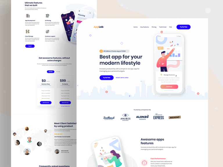 Landing page template for app showcasing