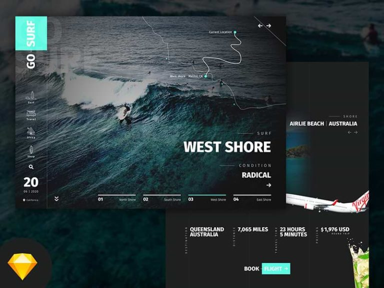 Website template for surfing and travels